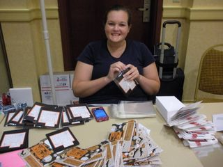 """stuffing cards"" Christmas in August event stamping for the troops, From Our Hearts"