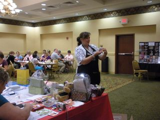 giving away door prizes at Christmas in August annual cardmaking event for From Our Hearts