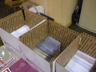 Finished cards in boxes to go to the troops at annual Christmas in August event for From Our Hearts